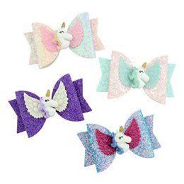 Baby Sequin Hair Clips Wholesale Australia - Unicorn Sequin Glitter Baby Girls Hairpin Bowknot Kids Barrettes Candy Color Hair Clip Children Hair Accessories Cute Hairclip A41902