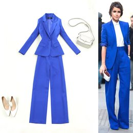 Female Office Suits Australia - New 2019 blue red pant suits for weddings womens business suits female trouser womens Blazer Office Lady Sets