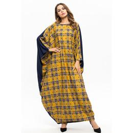dubai abaya design 2019 - Ramadan Muslim Abaya Plaid Patch Design Bat-wing Sleeve Robe Islam Dubai Clothing Arab Moroccan Kaftan Plus Size Caftan7