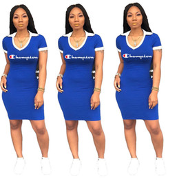 Polo sPort clothes online shopping - Women Clothing Bodycon Dresses Champion Letters Print Summer Dress V Lapel Neck Polo Shirt Skirts Casual Club Party Fashion Dresses C72405