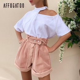 holiday party skirts Canada - Affogatoo Casual summer pink shorts women Elegant Hollow out spring shorts Vintage party fashion holiday ladies bottom shorts Y200519