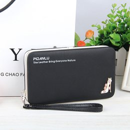 Wholesale Wrist Zipper Wallet NZ - Cartoon Print Women Long Wallet Cell Phone Pocket Lady Clutch Bag With Wrist Strap Litchi Pattern Pu Leather Purse Card Holder