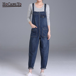 $enCountryForm.capitalKeyWord Australia - HCYO Plus Size 6XL Women Denim Jumpsuits Pants Loose Casual Wide Leg Denim Overalls Women 200 Pounds Fat MM Jumpsuit Rompers T5190614