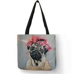 8db17dbf868e Cute Pug Dog Printing Reusable Shopping Bags Practical Linen Foldable  Lightweight Handbag Outdoor Storage Totes For Women Men
