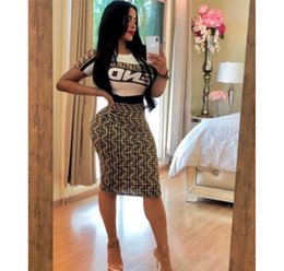 Wholesale Womens Two Piece Dress F Words Printed Short Sleeve Shirts Skinny Skirt Sexy Club Womens Two Piece Sets