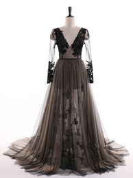 Quinceanera Dresses White Detachable Australia - Sexy black Lace Evening Dresses Formal Party Elegant Long sleeves See Though YeWen New Prom Dress 2019 with Detachable train
