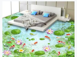 leather living room wallpaper Australia - 3D custom self-adhesive waterproof photo floor mural wallpaper Bishui Qingtan water swimming fish lotus leaf 3D bathroom floor