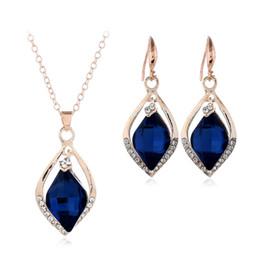 2f42d173931b Hosaire Necklace Earrings Diamond Water droplets Elegante conjunto de joyas  de cristal colgante