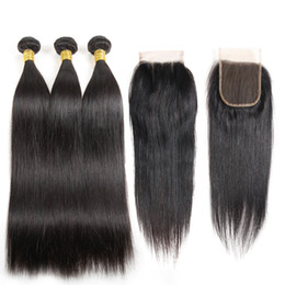 length 28 inch brazilian hair UK - Straight Human Hair Wefts Extensions 3 Bundles Deals With Closure Natural Color Brazilian Virgin Straight Hair Weaves With 4x4 Lace Closure