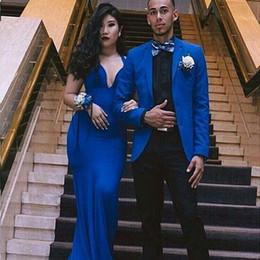 $enCountryForm.capitalKeyWord Australia - Royal Blue Men Suits for Mens Wedding Suits Groom Tuxedo Custom Made Groomsmen Blazer Prom Party Costume Homme 2Piece Slim Terno Masculino