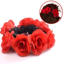 Discount rubber hair elastics - Big Rose Flower Elastics Hair Holders Rubber Bands Girls Women Cute Tie Gum Fabric Hot Wreaths Crowns Wedding Hair Acces