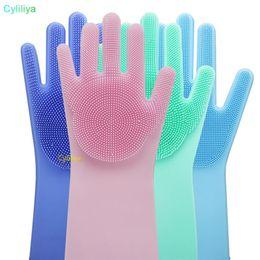 $enCountryForm.capitalKeyWord Australia - 2pcs pair Magic Washing Brush Silicone Glove Resuable Household Scrubber Anti Scald Dishwashing Gloves For Kitchen Bathroom Cleaning Tools