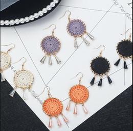 $enCountryForm.capitalKeyWord NZ - Amazon Hot Sale Korean Handmade Crochet Earrings for Women Bohemian Ethnic Styles Jewelry White Purple Black Orange Colors Available