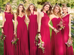 elegant chiffon bridesmaid dresses Canada - 2020 Spring Summer Red Long Bridesmaid Dresses Lace Chiffon Pleated Wedding Guest Dress Plus Size Elegant Evening Formal Dresses Custom Made