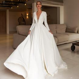 Yellow Satin Wedding Dresses Australia - Vintage White 2019 Sexy Deep V Neck Wedding Dresses A Line Illusion Back Luxury Beading Satin Long Sleeves Plus Size Bridal Gowns