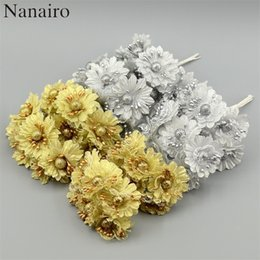 silver artificial wedding flowers NZ - 6pcs Golden Silver Glitter Artificial silk flower bouquet for Wedding Decoration Scrapbook DIY handcarft Fake flowers C18112601