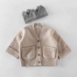 fa4970a03 Ins Baby clothing romper sets girl boy knitted solid color 100% cotton  Cardigan coat kids cardigan sweater Spring Fall clothing sets