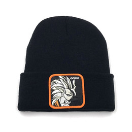 $enCountryForm.capitalKeyWord UK - 2019 Fashion Design Women's Winter Beanie Cap Dragon Ball GOKU Applique Embroidery Knit Cap Solid Color Warm