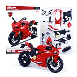 kids motorcycle metal NZ - Maisto Diecast Alloy Ducati 1199 DIY Assemble Motorcycle Model Toy, 1:12,KTM690, Kawasaki 450F& Ninja ZX, Xmas Kid Birthday Boy Gift,Collect