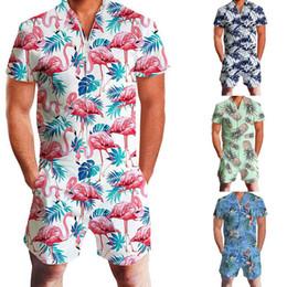 Men One Piece Jumpsuits Australia - Oeak 2019 Men Fashion Print Short Sleeve Overalls Pants One Piece Print Cargo Pants Men Casual V-Neck Jumpsuit Knee Length