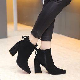 Wholesale Black S Hooks Australia - new~u654 3 colors genuine leather pointy thick heel ankle short boots matte black grey tan designer runway fashion s w