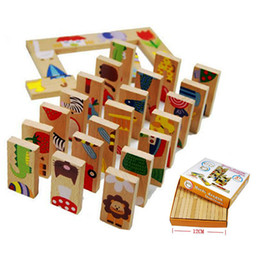 educational games for babies NZ - 28pcs set Wooden Dominoes Block Cartoon Animal Safe Colored Educational Baby Toys Gift for Kid Cute Funny Kids Games Dominoes