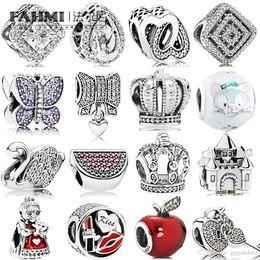 $enCountryForm.capitalKeyWord Australia - FAHMI 100% 925 Sterling Silver Charm Watermelon Red & Green Royal Crown Sparkling Butterfly Padlock Swan Clear CZ Bow & Heart CZ LOVE