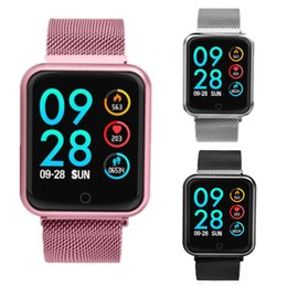 $enCountryForm.capitalKeyWord Australia - Smart Watch P68 Band IP68 Supports Dynamic Heart Rate Blood Pressure Monitor Portable adsorption Metal Strap Fitness Bracelet For iPhone X