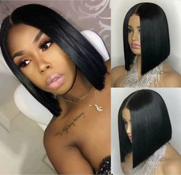 brazilian full lace wig silk Australia - Silk Base Full Lace Wigs BOB Short Silk Top Lace Front Wigs Unprocessed Virgin Brazilian Human Hair Natural Hairline For Black Women