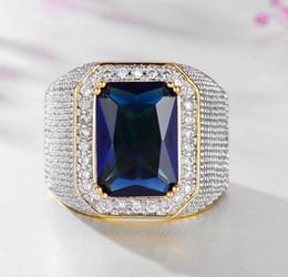 $enCountryForm.capitalKeyWord Australia - Gold sapphire Gemstone Ring Rhinestone mens ring hip hop jewelry luxury diamond Zircon ring Wedding Band fashion Jewelry