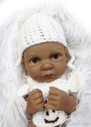 full house toys UK - 25cm Full Body Silicone Reborn Baby Doll Toy For Girl Black Skin Newborn Boy Dolls Bedtime Play House Bathe Toy Birthday Gift
