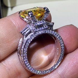 Discount sterling silver yellow topaz ring Victoria Classical Jewelry 925 Sterling Silver Princess Cut Yellow Topaz CZ Diamond Eiffel Tower Promise Women Wedding Engagement Band Ring