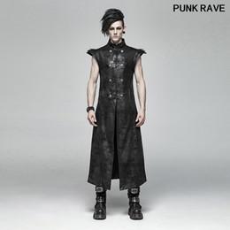 $enCountryForm.capitalKeyWord NZ - Punk Placket Pu Leather Visual Kei Buckle Black Long Vests popular Armor Coating Crack Woven Men Vest coat PUNK RAVE WY-1018MJM