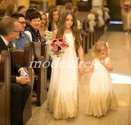 Kids party wear gown dress online shopping - Lovely Flower Girl Dresses For Weddings Jewel Floor Length Gold Appliques Girls Pageant Dress Child Birthday Party Gowns Kids Cosplay Wear