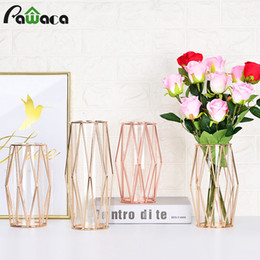 wrought iron home decor UK - Iron Style Hydroponic Nordic Holder Clear Vase Container Flowerpot Tube Flower Glass Decor Vase T191016 Glass Bottle Home Wrought Test Jhti