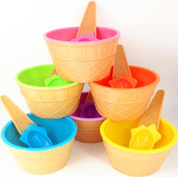 cute ice cream cups UK - New Kids Cute Durable Dessert Cup Ice cream Cup Plastic Ice Cream Bowls with Spoons Kitchen Accessories Party Decorations 6 colors