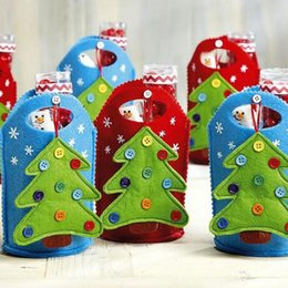 Owl Candles Australia - Christmas Gift Bag For Candy Christmas Gift Bags Ornament Decoration Bags for Tree Owl Santa Clause Stockings Snowman Pattern
