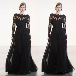 Champagne long sleeve Chiffon gown online shopping - 2020 New Arrival Black A line Floor Length Evening Gowns Bateau Neck Long Sleeve Appliques Bow Tie Tulle Formal Prom Wear