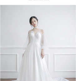 thin simple wedding dresses UK - Sen light wedding dress 2018 new bride small trailing princess dream simple super fairy was thin out the door travel brigade winter
