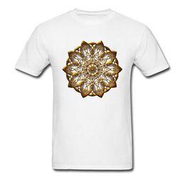 $enCountryForm.capitalKeyWord Australia - 2019 Fashion Gold Mandala Design T Shirt Art Print Men White T-shirt Short Sleeve Floral Chic Tops Wholesale Discount