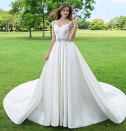 $enCountryForm.capitalKeyWord UK - 2019 Junoesque A-Line Wedding Dresses V Neck Off Shoulder Lace Up 3D-Floral Appliques Cathedral Train Satin Wedding Gowns