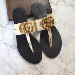 $enCountryForm.capitalKeyWord Australia - 19ss G women Men rea lLeather flat sandalss flat heels falt sandal 35-45 slippers slide sandals unisex outdoor beach flip flops