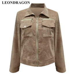 ladies corduroy jackets Canada - Vintage Motorcycle Baseball Coats Outerwear Ladies Corduroy Bomber Short Autumn Winter Zipper Flying Jackets Women Clothing