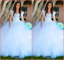 Pear Color Dress Australia - 2019 new designer white ball gown quinceanera dresses ruffled beading with jackets modest quinceanera gowns sweet 16 dresses hot sale