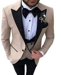 $enCountryForm.capitalKeyWord NZ - Men Suits 3 Pieces Slim Fit Casual Business Groomsmen Grey Green champagne Lapel Tuxedos for Formal Wedding(Blazer+Pants+Vest)