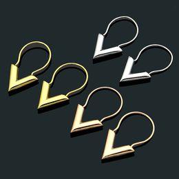 $enCountryForm.capitalKeyWord Australia - Fashion new stereo V-shaped earrings Titanium steel 18k rose gold pendants earrings ladies jewelry best selling bestseller