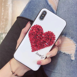 Iphone Diamond Back Australia - For iPhone X 8 7 6 Plus Bling Rhinestone Phone Case LOVELY Love Heart Shape Diamond Style Mobile Phone Back Cover Shell