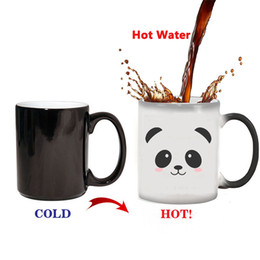 heat changing mugs china Australia - Creative Cute Panda Mug Heat Reveal Mug Ceramic Color Changing Coffee Mugs Magic Tea Cup Mug As Gift For Friends Free