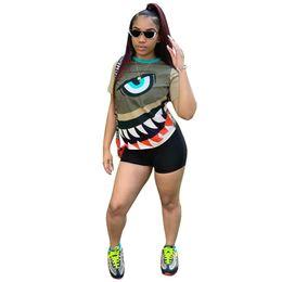 $enCountryForm.capitalKeyWord Australia - Women summer 2 piece set fitness running jogging suit outfit gym t-shirt shorts short sleeve print cartoon panelled leggings plus size 843