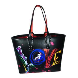 Genuine Brand Bags Australia - Graffiti Designer cabata handbags totes red bottom luxury brand composite handbag famous genuine leather purse bags